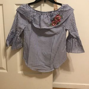 Boys & White Striped Blouse with Flower on Collar
